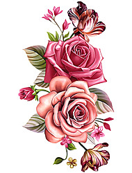 Temporary  Chest Body Flower Series 3D Rose Waterproof Tattoos Stickers Non Toxic Glitter Large Fake Tattoo Halloween Gift 22*15cm