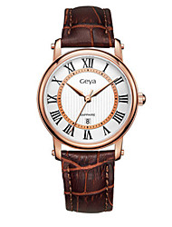 Couple's Fashion Watch Quartz Calendar Water Resistant / Water Proof Leather Band Brown