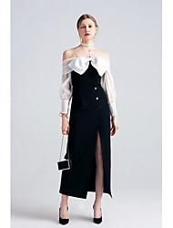Noir Noir et blanc Robe Femme Soirée Sexy Mignon Sophistiqué,Couleur Pleine Bateau Maxi Manches Longues Laine et polyester Toutes les