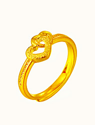 Fashion Gold Adjustable Heart Love Cuff Ring Jewelry For Special Occasion Birthday Gift Casual 1 piece