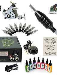 1 Set High Born Tattoo Kit HA8 With 7x15ML Inks 5 Needles Power Supply Switch