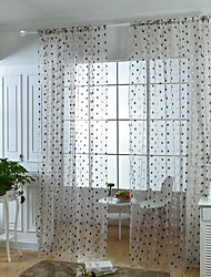W200cm*L250cm One Pannel Rod Pocket Curtains Dot Embroidery Sheer Shade Windows Curtain