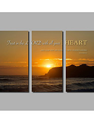 New Arrivals Seascape Landscape Posters For Livingroom Background 3Panels Unframed Sunset Painting on Canvas