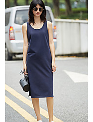 AMIIWomen's Casual/Daily Loose DressSolid Round Neck Midi Sleeveless Polyester Summer Mid Rise Inelastic Thin