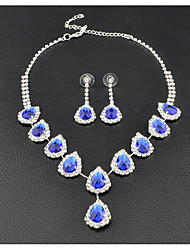 Women's Drop Earrings Choker Necklaces Bridal Jewelry Sets Sapphire Cubic Zirconia Fashion Luxury Elegant Jewelry Sets For Wedding