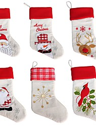 New Year Christmas Stockings Socks Santa Claus Candy Gift Bag Xmas Tree Hanging Ornament Decoration(Style random)