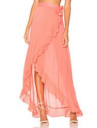 Women's Sexy Cover-Up Beach Swimwear Dress Solid Ruffle Irregular Loose Lace Up White/Black/Pink