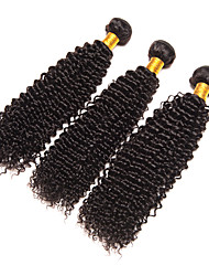 Natural Color Hair Weaves Brazilian Virgin Hair Kinky Curly hair weaves 3pieces 10inch to 28inch