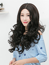 Cheap Women Synthetic Wigs Long Brown Grey Curly Straight Middle Part Bob Haircut With Bangs Natural Lolita Wig