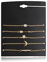 6Pcs/Set Chain Bracelet Jewelry Alloy Simple Sweet Multilayer Stars Moon Personality Bracelet Anklet For Women Birthday Party/Evening Gift