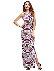 Women's Casual/Daily Street chic Loose Dress,Pattern Round Neck Maxi Sleeveless Cotton Spring Summer Mid Rise Inelastic Thin