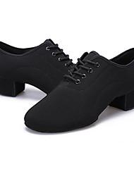 Men's Latin Fabric Flats Heels Practice Black
