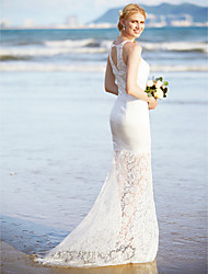 Mermaid / Trumpet Jewel Sweep / Brush Train Lace Satin Wedding Dress with Lace by LAN TING BRIDE®
