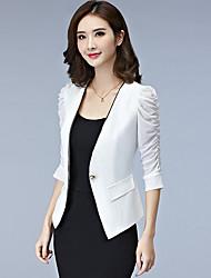 Для женщин Весна/осень Лето Куртка V-образный вырез,Формальная Для офиса Однотонный Короткая Полиэстер