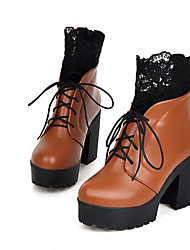 Women's Boots Comfort Fashion Boots PU Winter Casual Comfort Fashion Boots Burgundy Brown Black 4in-4 3/4in