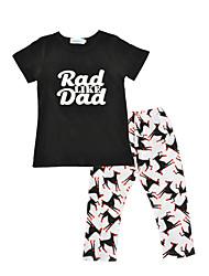 Boys' Print Sets Cotton Summer Fall Short Sleeve Clothing Set Letter T Shirt Animal Long Pants 2pcs Outfits for Kids