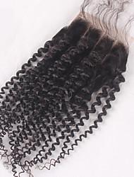 3 partes de fecho de renda encaracolado com laço fechado fechadura de cabelo humano 3.5x4