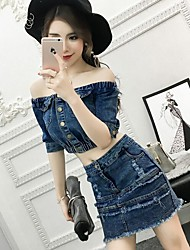 Women's Casual/Daily Simple Active Summer T-shirt Skirt Suits,Solid Jeans Boat Neck ½ Length Sleeve Micro-elastic