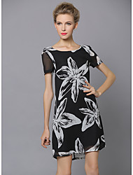SHE'SWomen's Work Sophisticated Shift DressFloral Round Neck Knee-length Short Sleeve Polyester Summer Low Rise Inelastic Thin