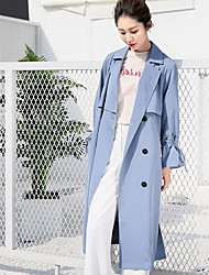 Women's Casual/Daily Contemporary Casual Spring Trench Coat,Solid Shirt Collar Long Sleeve Long Polyester