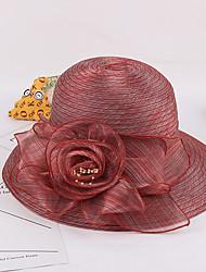Для женщин Шапки Цветы Широкополая шляпа,Весна/осень Лето Органза Пэчворк Разные цвета