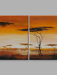 IARTS® Hand Painted Abstract Oil Painting The Beautiful Golden Sun Set View Set of 2 with Stretched Frame For Home Decoration Ready To Hang