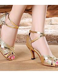 Damen Tanz-Turnschuh PU Sandalen Sneakers Im Freien Blockabsatz Gold Silber 5 - 6,8 cm
