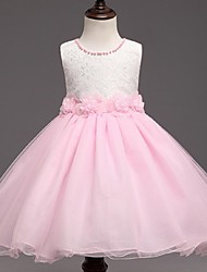 Ball Gown Short/Mini Flower Girl Dress - Organza Jewel with Flower(s) Pearl Detailing Ruched Zipper