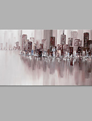 IARTS® Hand Painted Modern Abstract New York City Riverside Oil Painting On Canvas with Stretched Frame Wall Art For Home Decoration Ready To Hang