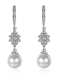 Women's Drop Earrings Cubic Zirconia Imitation Pearl Rhinestone AAA Cubic ZirconiaBasic Unique Design Tattoo Style Dangling Style