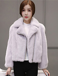 Women's Casual/Daily Simple Fall Winter Fur Coat,Solid Shirt Collar Long Sleeve Short Faux Fur Fur Trim