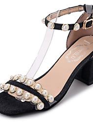 Women's Sandals Gladiator Rubber Summer Outdoor Walking Gladiator Rhinestone Buckle Block Heel Blue Black Under 1in