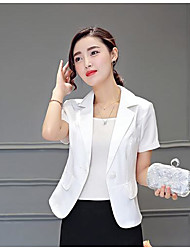 Women's Casual/Daily Simple Summer Blazer,Solid Notch Lapel Long Sleeve Short Polyester