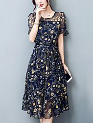 Women's Plus Size Slim chic A Line Chiffon Dress Print Patchwork Bow  Round Neck Midi Short Sleeve Summer