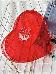 Women Shoulder Bag PU All Seasons Casual Outdoor Heart Cut Magnetic Red Black