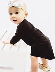 Girl's Solid Dress Cotton Spring Fall Long Sleeve Black Dress Irregular Baby Girls Dress Fashion 2017  Winter Autumn Dresses