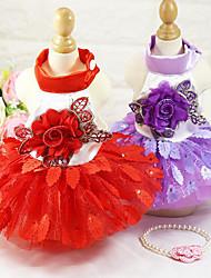 Chien Robe Smoking Vêtements pour Chien Mariage Floral/Botanique Violet Rouge
