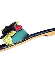 Women's Slippers & Flip-Flops Comfort Light Soles Summer PU Dress Flower Flat Heel White Black Ruby Green Flat