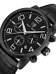 Men's Fashion Watch Wrist watch Quartz Leather Band Black