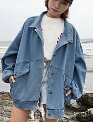 Women's Daily Modern/Comtemporary Spring Denim Jacket,Print Letter Shirt Collar Long Sleeve Long Polyester Others
