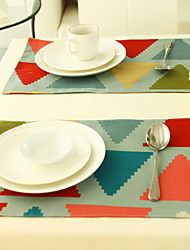 Modern Simple Lattice Insulation Cotton And Linen Table Placemat Single-sided 30*45cm