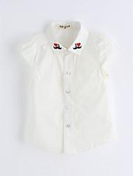 Girls' Solid Color Shirt,Cotton Summer Short Sleeve