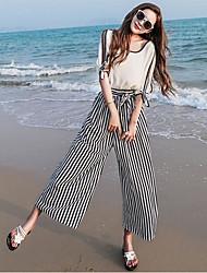Damen Sexy Hohe Hüfthöhe Mikro-elastisch Breites Bein Breites Bein Hose,Chiffon Gestreift