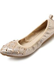 Women's Flats Comfort Light Soles Spring Fall Synthetic Microfiber PU Casual Outdoor Rivet Studded Flat Heel Gold Silver Flat