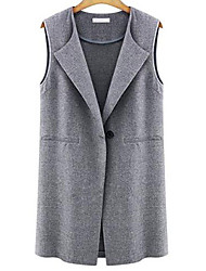 Women's Casual/Daily Simple Fall Vest,Solid Shirt Collar Sleeveless Long Polyester