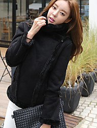 Women's Daily Modern/Comtemporary Spring Fur Coat,Solid Shirt Collar Long Sleeve Short Others