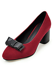 Damen High Heels Pumps Nubukleder Sommer Normal Kleid Pumps Schleife Blockabsatz Schwarz Rot Grün 5 - 7 cm