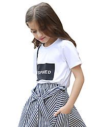 Para Meninas Camiseta Cor Única Verão 100% algodão Manga Curta Regular