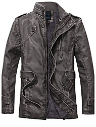 Men's Daily Casual Vintage Fall Winter Leather Jacket,Solid Stand Long Sleeve Regular PU