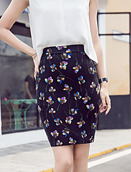 Women's Casual/Daily Above Knee Skirts,Vintage Street chic Slim Floral Print Spring, Fall, Winter, Summer